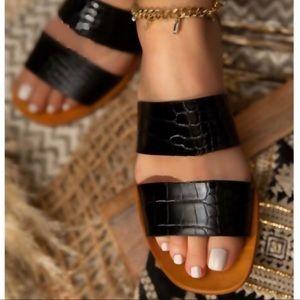 Shoes - Black Crocodile Textured Double Strap Sandal